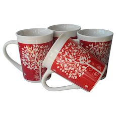 Royal Norfolk Tree Of Life Red White Mugs Set 4 Mug Birds Flowers