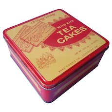 Savannah Georgia Vintage Cookie Tin Red Yellow Byrd's Wild Rice Tea Cakes