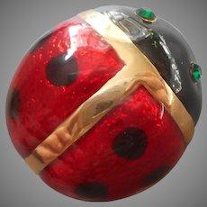 Ladybug Pin Red Black Enamel Green Rhinestone Eyes