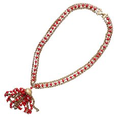 Puccini Necklace Vintage ca 1970 Red Glass Beads Tassel Gold Tone Chains