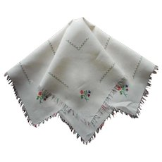 Cocktail Table Tablecloth Topper Vintage Linen hand Embroidery Fringe