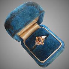 14K Gold Garnet Tiny Diamonds Ring Vintage ca 1970 Size 6