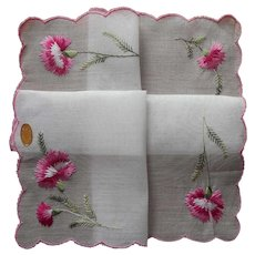 Carnations Embroidery Vintage Unused Hankie Swiss Label Pink White