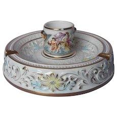 Capodimonte Big Ashtray Cigarette Cup Vintage Cherubs Goddesses Putti Swan Hand Painted