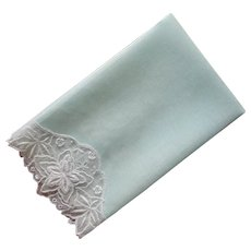 Guest Towel Mint Green Linen Sheer Voile Border Vintage Lace