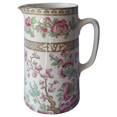 Indian Tree Bridgwood Antique English China Milk Pitcher Pink Turquoise