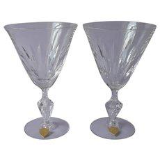 Tiffin Festival 2 Cut Glass Water Goblets Glasses Vintage Original Labels