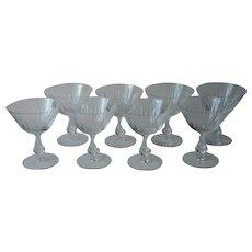 Fostoria Baronet Set 8 Cut Glass Coupe Glasses 6065 Stem Champagne Cocktail Sherbet