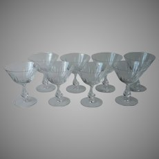 Fostoria Baronet Set 8 Cut Glass Coupe Glasses 6065 Stem Champagne Cocktail Sherbet