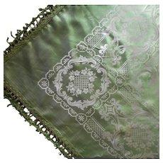 1920s Italian Bedspread Silky Viscose Damask Green Vintage Italy TLC