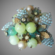Bead Filigree Vintage Pin Leaves Faux Pearls Rhinestones Unmarked