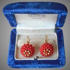 Italian 18K Gold Coral Woven Beads Earrings Vintage Pierced Latch Hook Drop