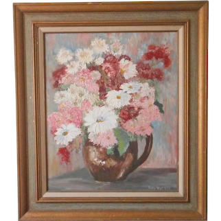Vintage Painting Pink White Turquoise Still Life Flowers In Jug