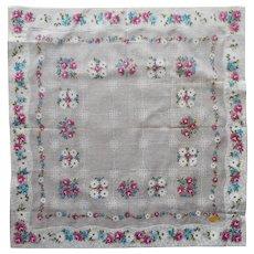 Vintage Hankie Unused Printed Cotton Pink Turquoise Floral Label