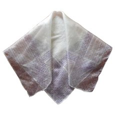 1920s Silk Men's Handkerchief Vintage Hankie Purple Golden Yellow