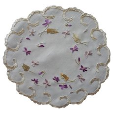 Violets Silk Embroidery Antique Doily Silk Society Hand Embroidery
