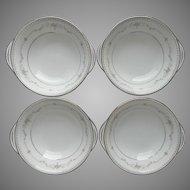 Noritake Fairmont 4 Cereal Bowls Lugged Tab Handle  Vintage China