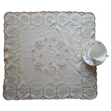 Silky Vintage Hand Embroidered Table Topper A Bit TLC