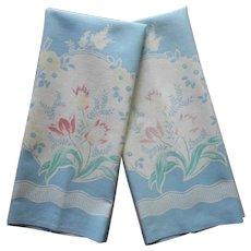 Vintage Towels Printed Kitchen Cotton Sky Blue Floral A Bit TLC