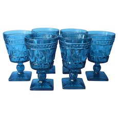Park Lane Blue Sherbet Water Goblets Footed Glasses Vintage Set 6