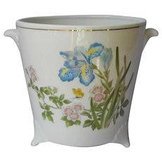 Takahashi Cachepot Vintage Porcelain Japan Iris Flowers Cache Pot