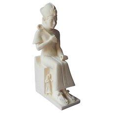 Vintage Statue Figurine Seated Egyptian Pharaoh Faux Marble