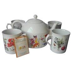 Marjolein Bastin Four Seasons China Teapot 4 Mugs Set Vintage Unused Wildflower Meadow