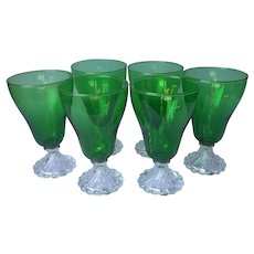 Burple Forest Emerald Green Footed Water Goblets Glasses Set 6 Inspiration Anchor Hocking