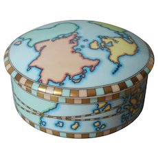 Tiffany And Co. Trinket Box World Map Vintage Porcelain