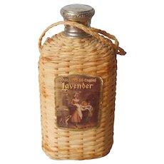 Vintage Yardley London Lavender Cologne Bottle Basket Woven Covering Hanging