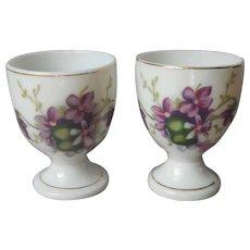 Pair Egg Cups Violets Porcelain Vintage Japan
