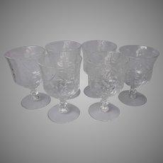 Romance Low Water Goblets Set 6 Vintage Libbey Glass Rock Sharpe Cut ca 1940