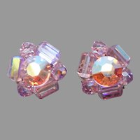 Pink Crystal Vintage Clip Earrings AB Finish 1950s