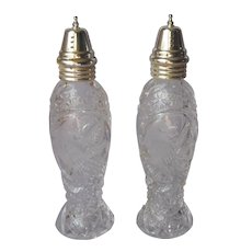 Hofbauer Byrdes Crystal Tall Shakers Vintage Salt Pepper Bird