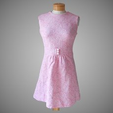 ca 1970 Mod A Line Pink White Sears Poly Double Knit Sleeveless Dress 6 Vintage