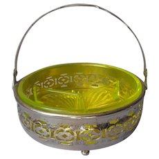 Vaseline Glass Insert Relish Basket Dish In Chrome Plated Frame Vintage