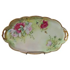 Antique Vanity Tray Hand Painted China Pink Magenta Roses Green Gold