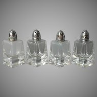 1950s Cut Glass Shakers Small 2 Pairs For Table of 4 to 8 Vintage Salt Pepper