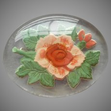 Lucite Pin Vintage Reverse Carved Painted Salmon Peach Rose