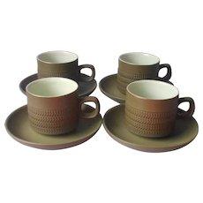 Denby Camelot 4 Cups Saucers Dark Olive Green Chevron Vintage Mid Century England