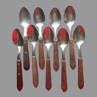 Town and Country Washington Forge 9 Teaspoons Flatware Vintage Mid Century