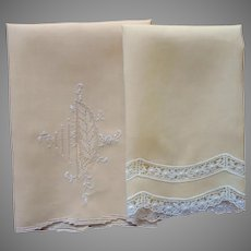 Guest Towels Golden Yellow Vintage Linen Lace Hand Embroidery