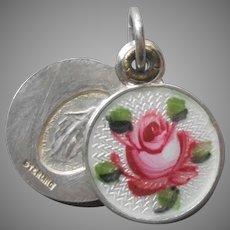 Slider Charm Enamel Pink Rose Sterling Silver Vintage Religious Medal Catholic Tiny