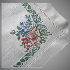 Antique Damask Luncheon Napkins Colored Floral Weave Borders 4 Linen