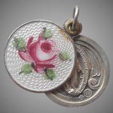 Slider Charm Enamel Pink Rose Vintage Religious Medal Catholic Small CYO