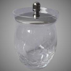 English Jam Pot Cut Glass Silver Plated Marmalade Jelly Jar Vintage