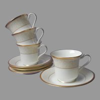Noritake White Palace Gold Bone China 4 Cups 4 Saucers UNUSED