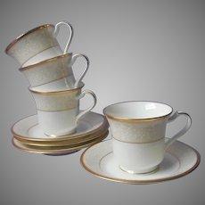 Noritake White Palace Gold Bone China 4 Cups 4 Saucers UNUSED