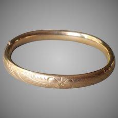 Petite Gold Filled Hinged Bangle Bracelet Vintage Or For Child