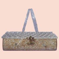 Lucite Box Purse Vintage Florida Handbags Miami Confetti Mother Of Pearl